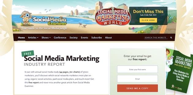 The social media examiner site has no mega menu