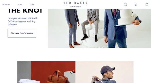 Ted Baker home page with sticky menu