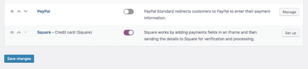 the woocommerce payments settings screen with square enabled and PayPal disabled
