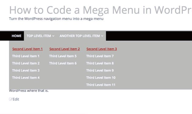 the final mega menu with lists neatly laid out next to each otther