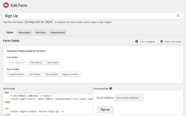 editing MailChimp form fields