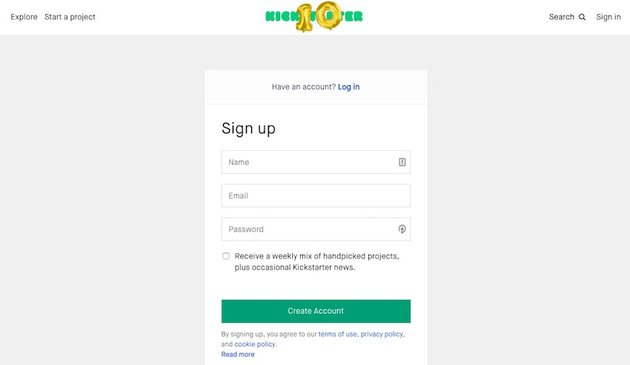Kickstarer signup form with 3 fields