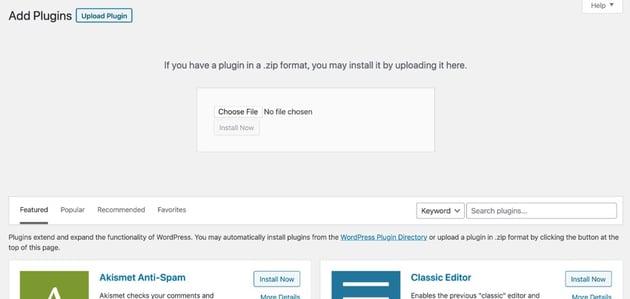 plugin upload screen