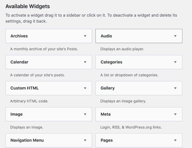 pre-installed WordPress widgets