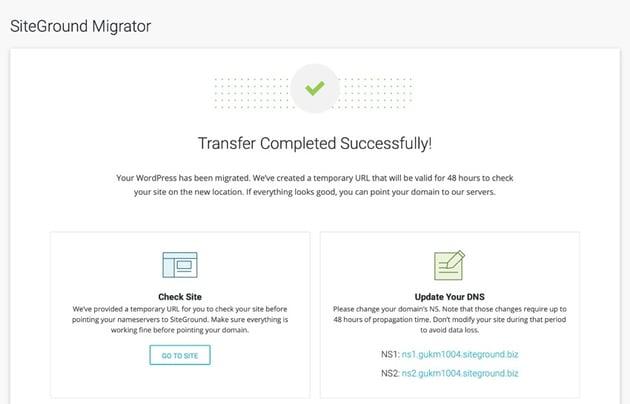 migration success screen