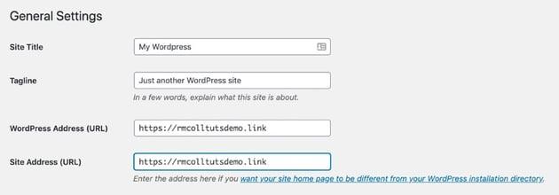 WordPress General settings with https