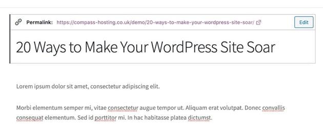 editing the slug in WordPress
