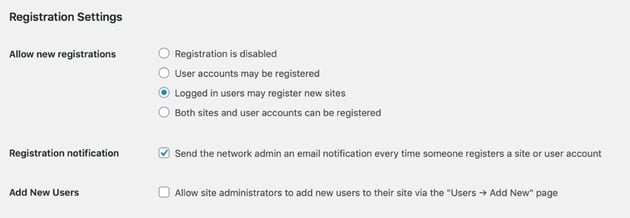 network settings - only existing users can create sites