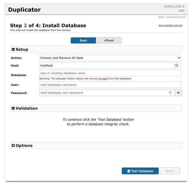 Install Database screen