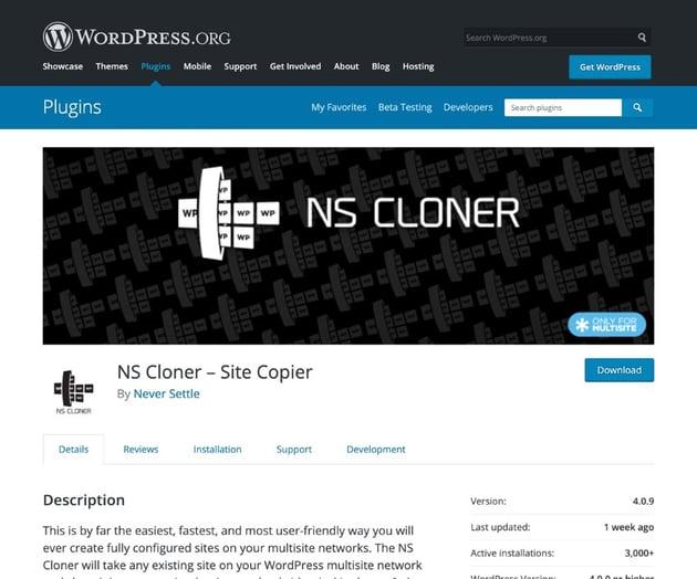 NS Cloner - Site copier plugin
