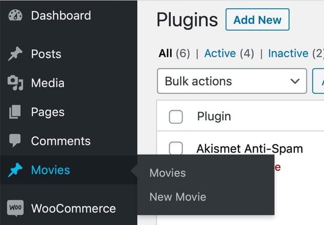 New post type in admin menu