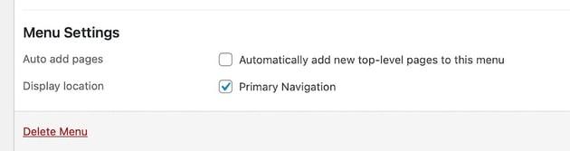 Primary navigation setting
