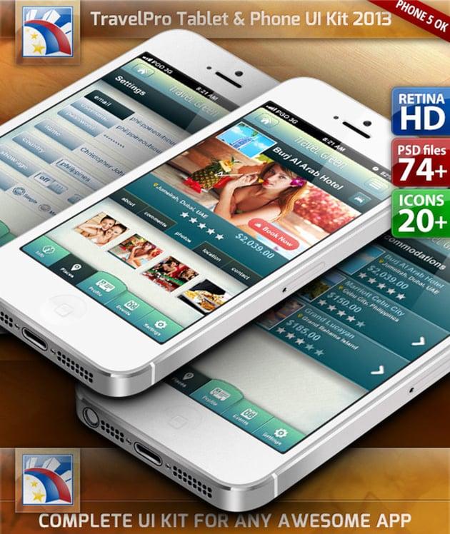 Travel UI Kit for PhoneTablet Retina HD 75 PSDs