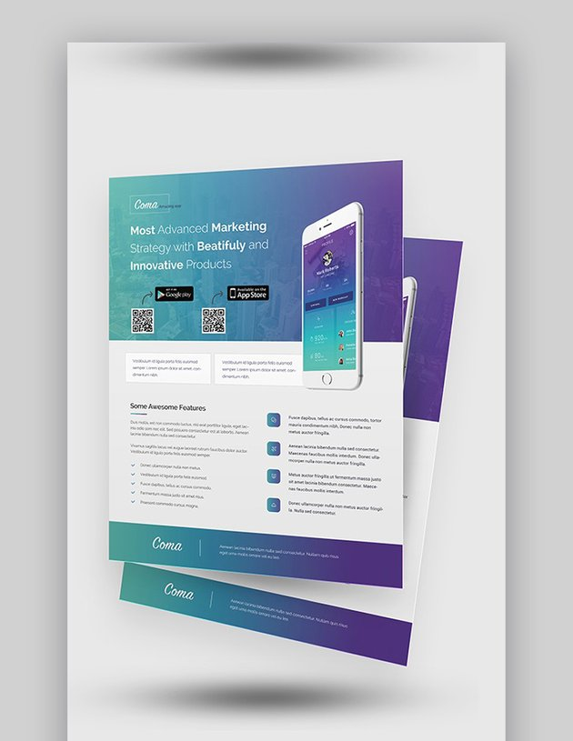 Mobile App Promotion Product Flyer Templates