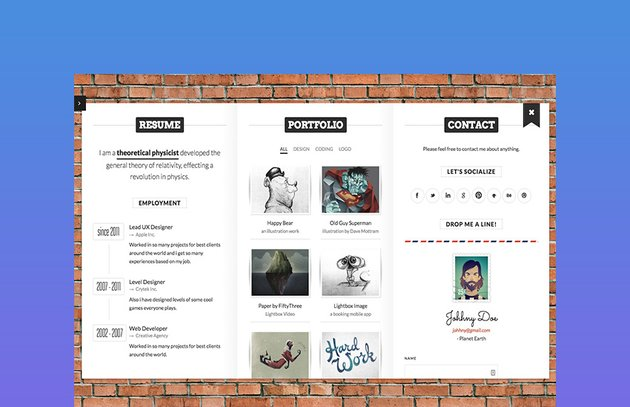BookCard  3D Animated Folded Web HTML Resume Template
