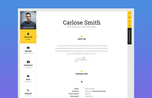 The Book Personal Resume HTML Website Template