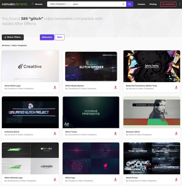 Glitch effect After Effects Template on Envato Elements for 2018