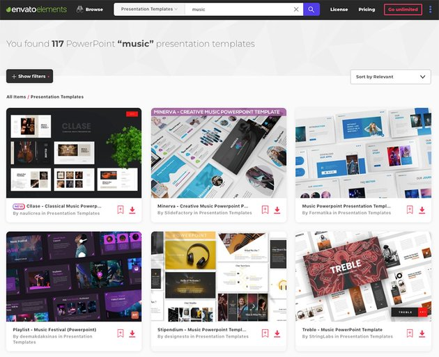 You can find loads of awesome music PPT templates on Envato Elements