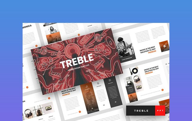Treble - Music Background PowerPoint Templates