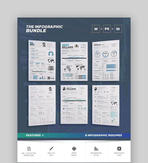 Infographic InDesign Resume Bundle