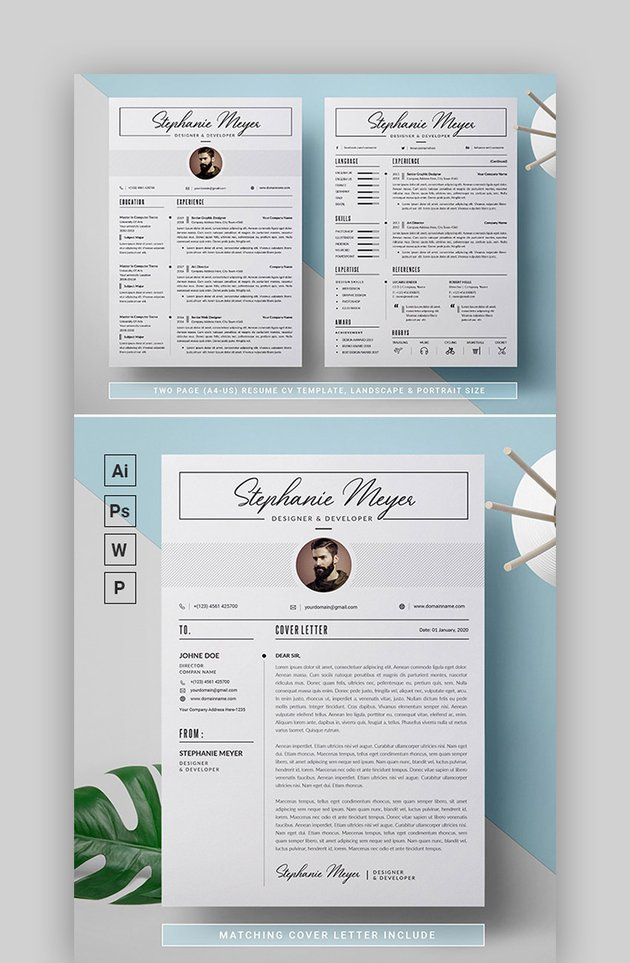 2 Page Modern Resume 2020 with Cover Letter
