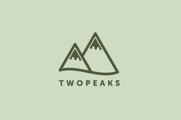 TwoPeaks Logo Example of Minimalist Design on Envato Elements