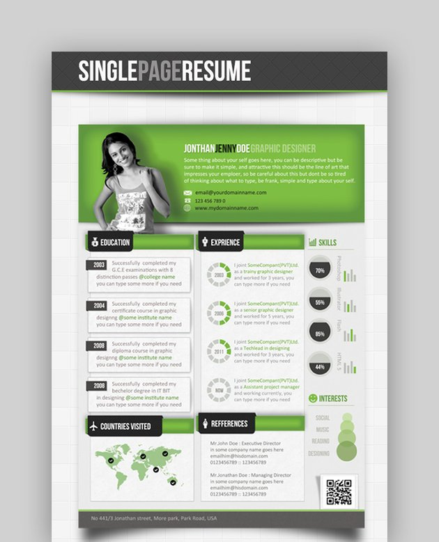 Green Infographics - Attractive Resume Templates
