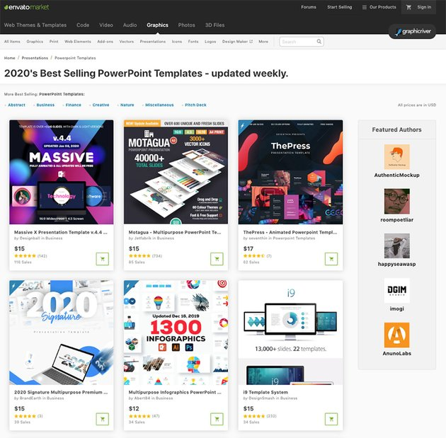 Best Selling Premium PPT Templates from GraphicRiver for 2020