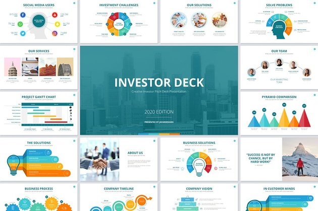 Investor Deck PowerPoint Template is an excellent choice for data focused presentation