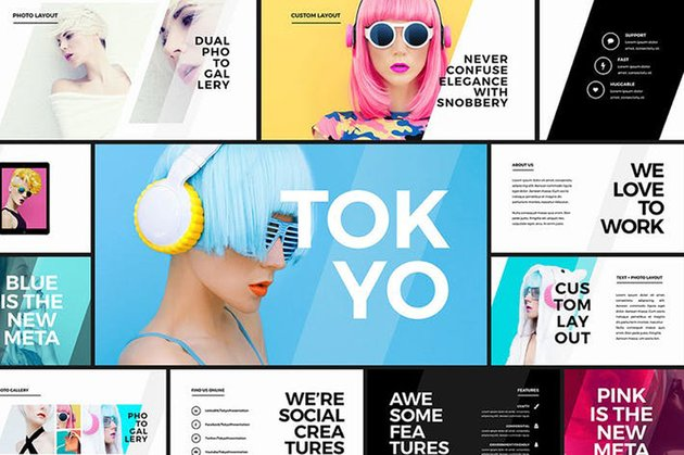 Tokyo is a stylish PowerPoint theme template on Envato Elements
