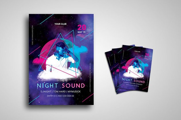 DJ Night Party Event Flyer uses plenty of white space