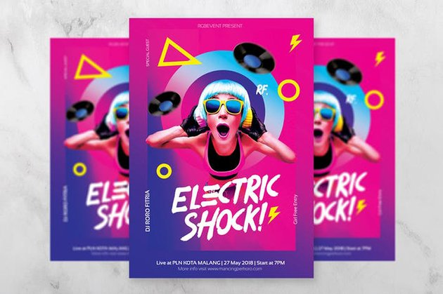 Standout from the crowd with Electric Shock DJ Flyer from Envato Elements
