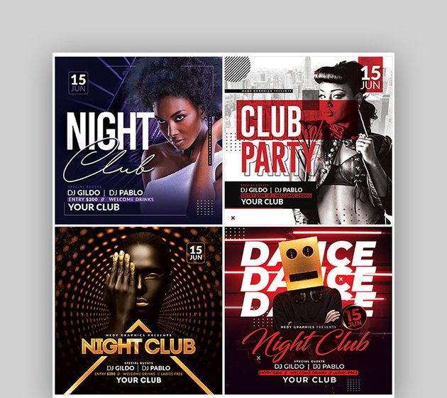 Night Club Flyer Template Background Bundle