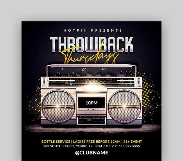 Throwback - Night Club Party Flyer