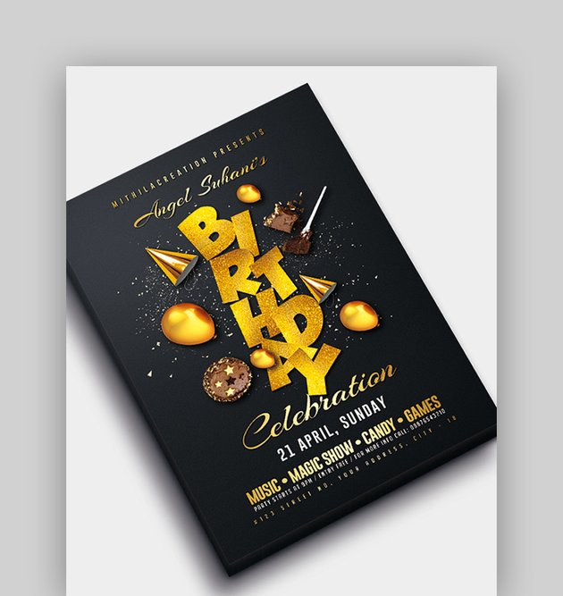 Black and Gold Birthday Celebration Flyer
