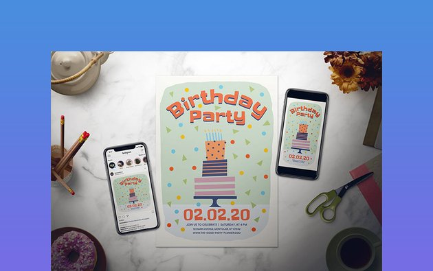 Kids Birthday Party Flyer Set