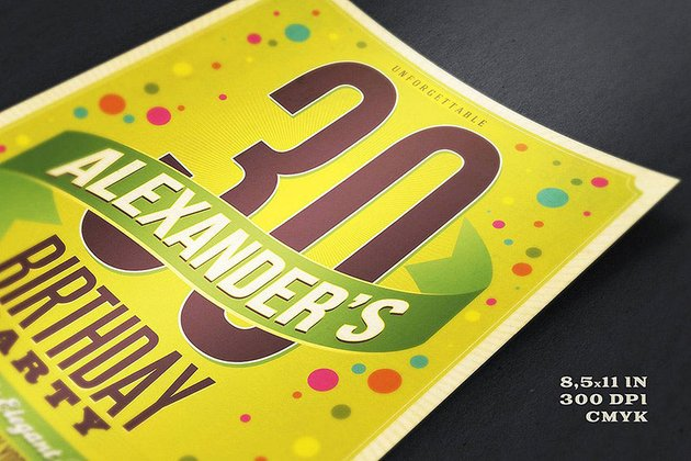 Retro Birthday Flyer a premium birthday flyer template on Envato Elements