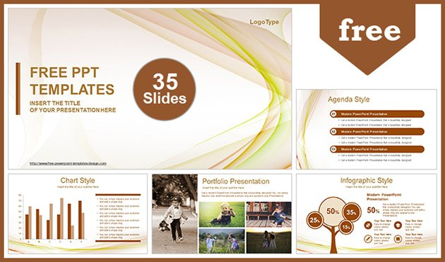 Free Beautiful Wave Abstract PowerPoint Template