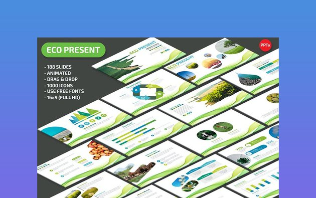 Abstract Eco PPT Template - Slide Background Green and Blue