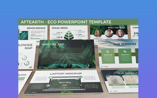 Aftearth - Light and Dark Green PowerPoint Template