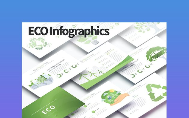 Eco Infographics - Light Green PowerPoint Background