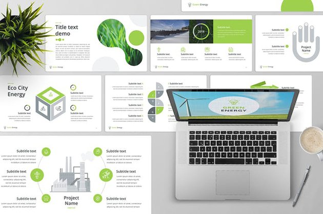Green Energy PowerPoint Template premium PPT template for 2020 from Envato Elements