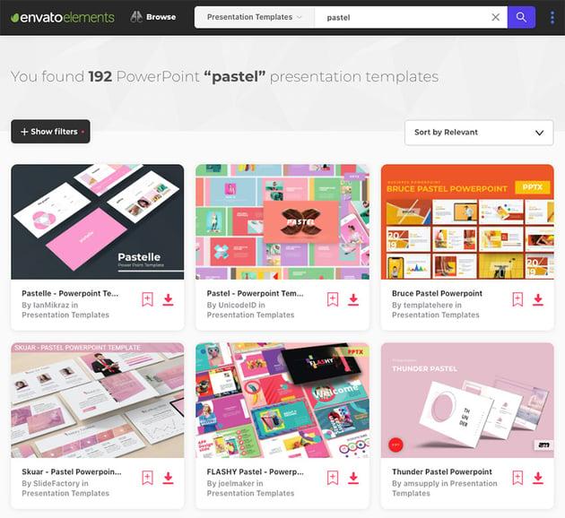Pastel colors PowerPoint templates on Envato Elements for 2020