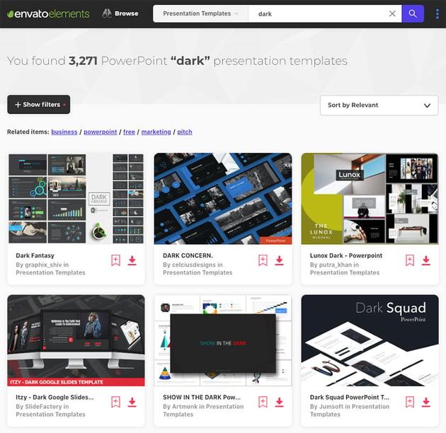 Find loads of premium dark PPT templates on Envato Elements