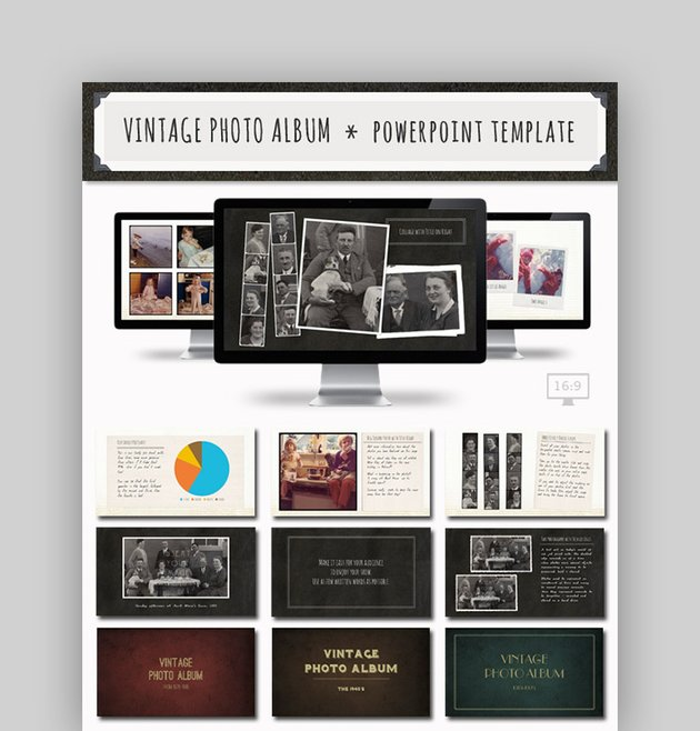 Vintage Photo Album PowerPoint Template