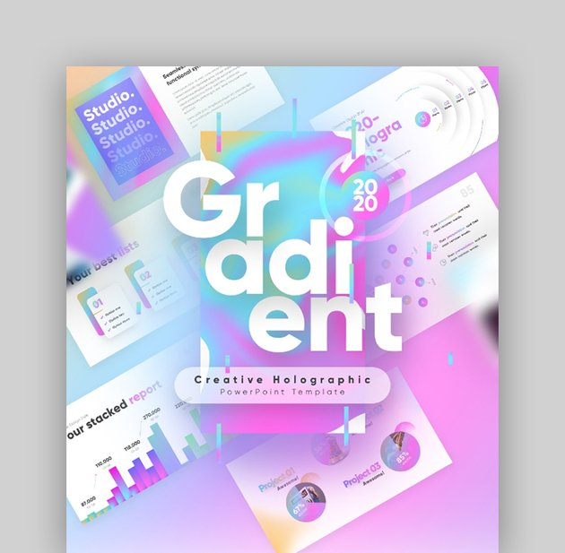 Gradient Holographic PowerPoint Presentation Template Fully Animated