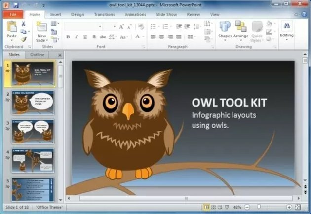 Animated Owl - Free Storyboard Template PowerPoint