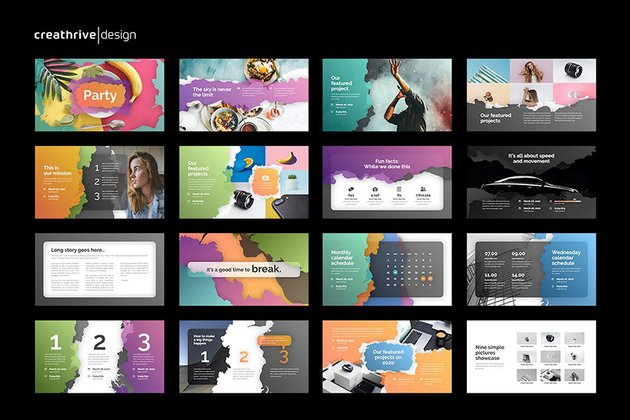 Party PowerPoint Template a premium colorful template from Envato Elements
