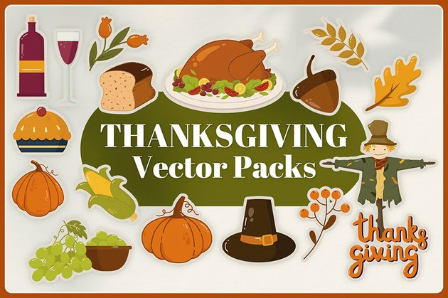 Thanksgiving Vector Pack a premium illustration set from Envato Elements