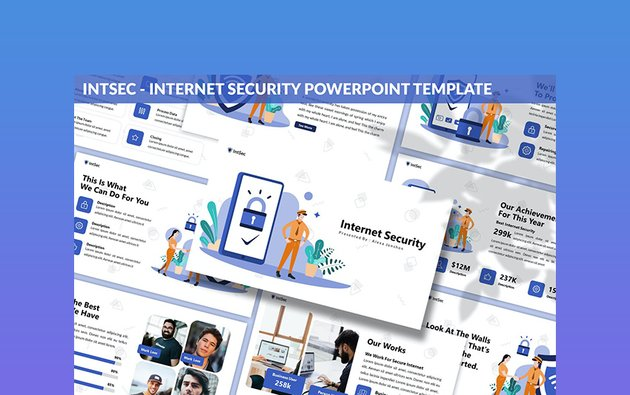 Intsec Cyber Security PowerPoint background template